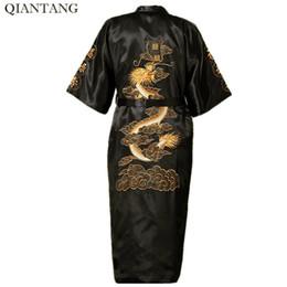 New Arrival Black Chinese Men s Silk Satin Robe Novelty Embroidery Kimono  Bath Gown Dragon S M L XL XXL XXXL Hombre Pijama S0011 861e61bca