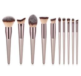 57d20cec487 10pcs Luxury Champagne Gold Makeup Brushes Set Reals Professional Powder  Blusher Blender Brush Professional Beauty Tools
