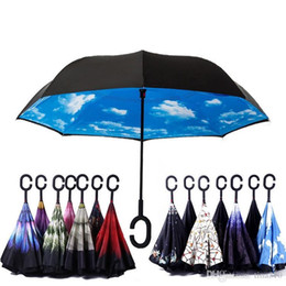 Discount stand cloth - Windproof Reverse Folding Double Layer Inverted Umbrella Self Stand Inside Out Rain Protection C Hook Hands For Car IB47