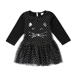 Wholesale Halloween Kid Baby Girl Black Dresses Baby Princess Tutu Dress Cat Dot Tulle Long Sleeve Sequin Girl Clothes Dress Boutique Clothing
