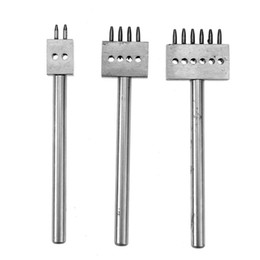 Chinese  craft tools 3pcs Punches Row Circular Cut Hole Stitched Hole Spacing 5mm 2 4 6 Prong Punch Leather Craft Tools manufacturers