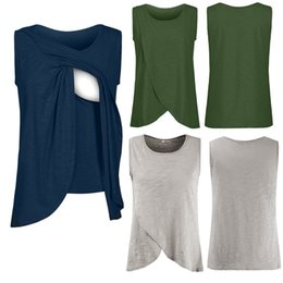 8f33bb746 Las mujeres del verano embarazadas maternidad de enfermería camisetas  mujeres maternidad de enfermería abrigo Top Cap sin mangas de doble capa  blusa Tee