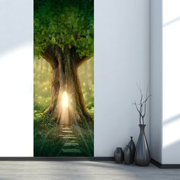 large forest wall stickers Australia - 2Pcs Set Fantasy Tree House In The Forest 3D Wooden Door Self-adhesive Door Paste Waterproof Door Stickers