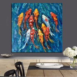 Koi Oil Paintings NZ - Wall Art Picture Traditional Chinese Abstract Landscape Oil Painting Print Nine Koi Fish on Canvas Poster For Living Room Decor