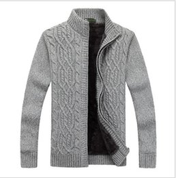 $enCountryForm.capitalKeyWord NZ - New Winter Men Sweater Casual Style Stand Collar Cotton Material Thin Warm Thick Patchwork Cardigan Male Sweaters