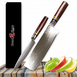 Chinese Cleavers NZ - GRANDSHARP 2 Pcs Kitchen Knife Set 67 Layer Japanese VG10 Damascus Steel Kitchen Knife Cleaver Chef Utility Japanese Kitchen Knives Tools
