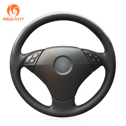 Chinese  Mewant Black Artificial Leather Car Steering Wheel Cover for BMW 530 523 523li 525 520li 535 545i E60 manufacturers