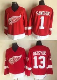 e33015851 Detroit Red Wings Jersey  1 Terry Sawchuk 13 Pavel Datsyuk Jersey Red 100% Stitched  Hockey Jerseys