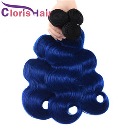 blue ombre hair extensions human UK - Dark Roots 1B Blue Ombre Weave Wet And Wavy Raw Indian Virgin Human Hair Bundles Body Wave Two Tone Colored Remy Hair Extensions