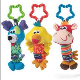Hanging rattle online shopping - Fashion bed bells developmental toy kids baby safe soft plush toy animal handbells rattle soft outer baby plush toy