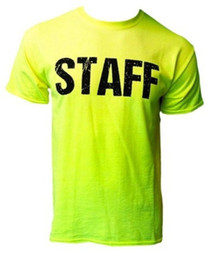 Chinese  Details zu Neon Staff T-Shirt Front & Back Print Mens Event Shirt Yellow Tee Bar Restaurant Funny free shipping Unisex Casual tee gift manufacturers