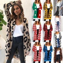 5969e6d5ffa562 2018 Cardigan Sweater Christmas Leopard Print Autumn Winter Pocket Sweater  Long Sleeve Warm Loose Sweaters women casual Outwear Jacket Coat