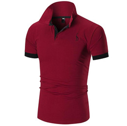 free embroidery polo shirts UK - Free ship new 2018 fashion short-sleeved T-shirt summer top T-shirt polo men's polo T-shirt fitness Slim cotton leisure men's polo Candace