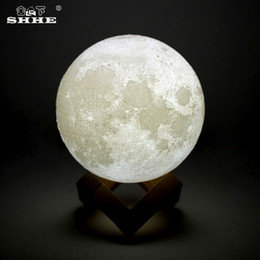 Wholesale Rechargeable LED Night Light D Print Moon Lamp Luna Magic Touch Full Moonlight Portable Colors Change Baby Gift Nightlight