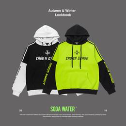 Colour Block NZ - SODA WATER Colour Block Hoodies Letter Printed Casual Slim Hooded Sweatshirt Long Sleeve Pullover Hooded Streetwear 81260WS