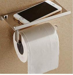 mobile phone holder toilet 2019 - Stainless Steel Bathroom Paper Phone Holder with Shelf Bathroom Mobile Phones Towel Rack Toilet Paper Holder Tissue Boxe