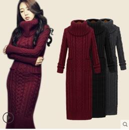 060d97460e89 Maglia dolcevita donna autunno inverno lana grezza a maglia manica lunga  midi abito lungo maglione con tasche SMLXL