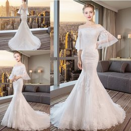 ElEgant gowns onlinE online shopping - Online Elegant Mermaid Wedding  Dresses Big Sleeve Lace Appliques Sweep 897e34f3f203