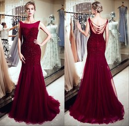 Wholesale Luxury Burgundy Tulle Mermaid Long Evening Dresses Scoop Neck Real Image Major Beaded Stones Formal Party Prom Dresses CPS1179