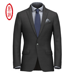 Discount chinese customs - Chinese Top brand DINGTONG Midweight Solid Wool Fabric Custom Fit Suit Men's Customized Top Quality Dress Suit Jack