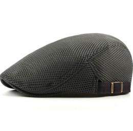 Men Fashion Sun NZ - New Fashion Men Women Beret Caps Wholesale Solid Plain Mesh Trucker Caps Summer Breathable Sun Hats for Men Flat Cap