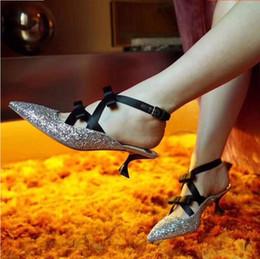 Discount bling wedding sandals - Newest golden silver spring shoes women kitten heels bling bling sequins decor bowties decor pumps summer sandals women