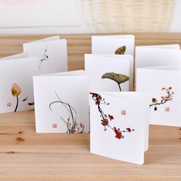 invitation cards for birthdays flower 2019 - Classical Chinese Wind Flower Cards DIY Creative Simple Mini Greeting Cards For Invitations Birthday Wedding Party Suppl