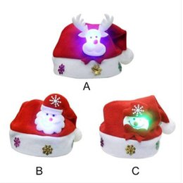 $enCountryForm.capitalKeyWord NZ - Free shipping Wholesales Lovely Snowman Christmas Hat LED Caps For Children New Year Xmas Kids Gift Home Decorations