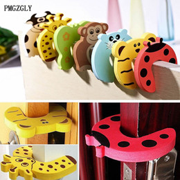 Wholesale Baby Safety Gates NZ - 5Pcs Lot Safety Gate Products Newborn Care Cabinet Locks Straps Animal Baby Security Door Card Protection Tools Baby Saftey