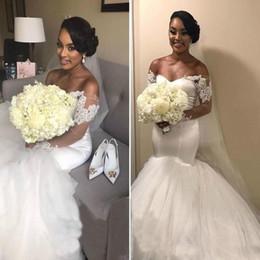 Venta al por mayor de 2018 fuera del hombro mangas largas sirena vestidos de novia apliques de encaje vestidos de novia africanos Vestido De Novia