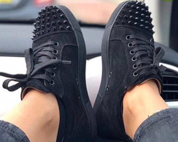 flat bottomed white sneakers 2018 - Designer Sneakers low cut Spikes Flats shoes Red Bottom For Men and Women Leather Sneakers Party Designer shoes discount