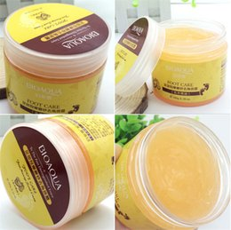 wholesale foot cream NZ - BIOAQUA 24K GOLD Shea Buttermassage Cream Peeling Renewal Mask Baby Foot Skin Smooth Care Cream Exfoliating Foot Mask 120pcs