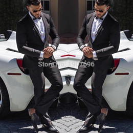 two piece evening pant suits 2019 - Black Formal Wedding Men Suits Two Piece Jacket Pants Notched Lapel Blazer Evening Party Groom Tuxedos Latest Style chea