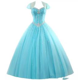 $enCountryForm.capitalKeyWord UK - 2018 New Amazing Rhinestone Crystals Blush Peach Quinceanera Dresses 2016 Sexy Sheer Crew Sweet 16 Ruffle Princess Prom Ball Birthday Q41