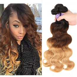 $enCountryForm.capitalKeyWord Australia - Three Tone Ombre Brazilian Virgin Body Wave Hair Weaves 1B 4 27# Brown Blonde Bundles Wet And Wavy Human Hair Weave Extensions
