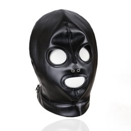 Face Mask Sex Party UK - Visable Head Face Mask Sex Hood Faux Leather Party Play BDSM Bondage Gear Breathable Slave Adult Toys For Women GN312400011