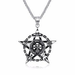 $enCountryForm.capitalKeyWord UK - Fashion Jewelry Pirate Head Necklace For Men Star Pendant Skull Men Necklace Stainless Steel Male Vintage Cool Jewelry