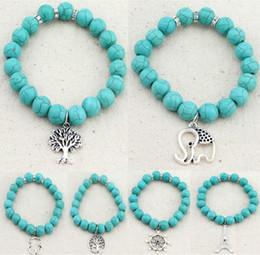 tree pendant for men 2019 - Boho Vintage Turquoises Bracelets for Women Men Tree Elephant Eiffel Tower Hand Pendant Charm Bead Bracelet Bangle Fashi