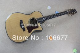 Guitar strinGs for sale online shopping - Hot Sale Best Quality Real Abalone Inlay Taylor ce quot Natural Wood Solid Spruce Cutway Acoustic Guitar Free shippin2018g