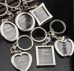 Shape photo frameS online shopping - 2000pcs Photo Frame Round Heart Apple Oval Rhombus Shape Metal Alloy Keychain Key Chain Keyring Car Keychains Couples Keyring Gift J039