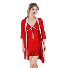 $enCountryForm.capitalKeyWord NZ - Hot Sale 2pcs Long Robe Set Satin Rayon Bathrobe For Women Kimono Bath Gown Sleepwear Nightwear Bride Bridesmaid Bathrobes WM01