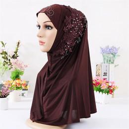 lace hijab scarves 2019 - 2018 Fashion Muslim Rhinestone Flower Lace Scarf Shawl Islamic Hijab Turban Full Cover Cap Women Headscarf Hair Accessor