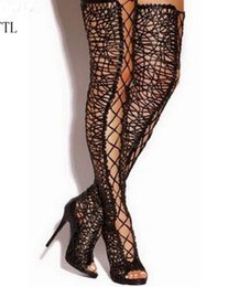 knee high tie up boots Canada - Sexy Black Lace Over The Knee Boots Women Peep Toe Lace Up High Heel Shoes Woman Cross Tied Thigh High Boots For Woman