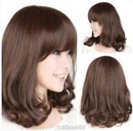 straight bangs wavy hair 2019 - Hot Sell Brown Straight Wavy Medium BOB Bangs Women's Lady's Hair Wig Wigs cheap straight bangs wavy hair