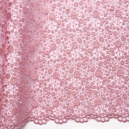 Wholesale 2018 African French Lace Fabric Pink Swiss Voile Lace In Switzerland Tulle Net Wedding Lace Fabric With Beads And Stones