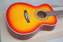 Top acousTic guiTars online shopping - Customized product Custom Factory quot Cherry Sunburst acoustic guitar chrome hardware Rosewood fingerboard solid top custom personalized