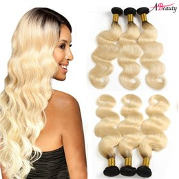 Discount two tone weave hair extensions - 1B 613 Blonde Ombre Brazilian Body Wave Human Hair Extensions Black and Blonde Two Tone Ombre Brazilian Virgin Hair Weav