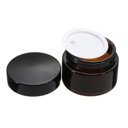 Chinese  1Pcs 30g Amber Glass Facial Cream Empty Jar 30ml 1OZ Cosmetic Sample Packing Container Refillable Pot With Black Lid For Travel manufacturers