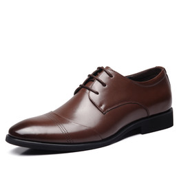 Wedding Dresses Youth Canada - High-quality men's dress business casual shoes pointed low help tie British youth wedding banquet shoes wild Derby shoes