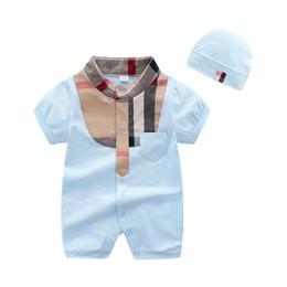 Ingrosso Vendita al dettaglio di alta qualità Baby Boys Pagliaccetti manica corta infantile Tute Estate Neonate che coprono gli insiemi del fumetto Vestiti del neonato per 3-24 Mo